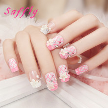 Saffly Hot sale fall design full cover fashion square head false nail Transparent art tips printing flowers nails file Wholesale(China)