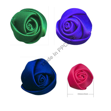 15MM Satin Ribbon Bud Rose Flower For Wedding Packing Cloth Hairbow DIY Crafts 200pcs Free Shipping