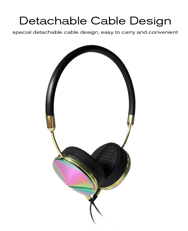 Headband Wired Rose Gold Headphones for Girls with Mic Fone De Ouvido On-Ear Headset For iPhone Samsung Blanou BH868 Headphones 08