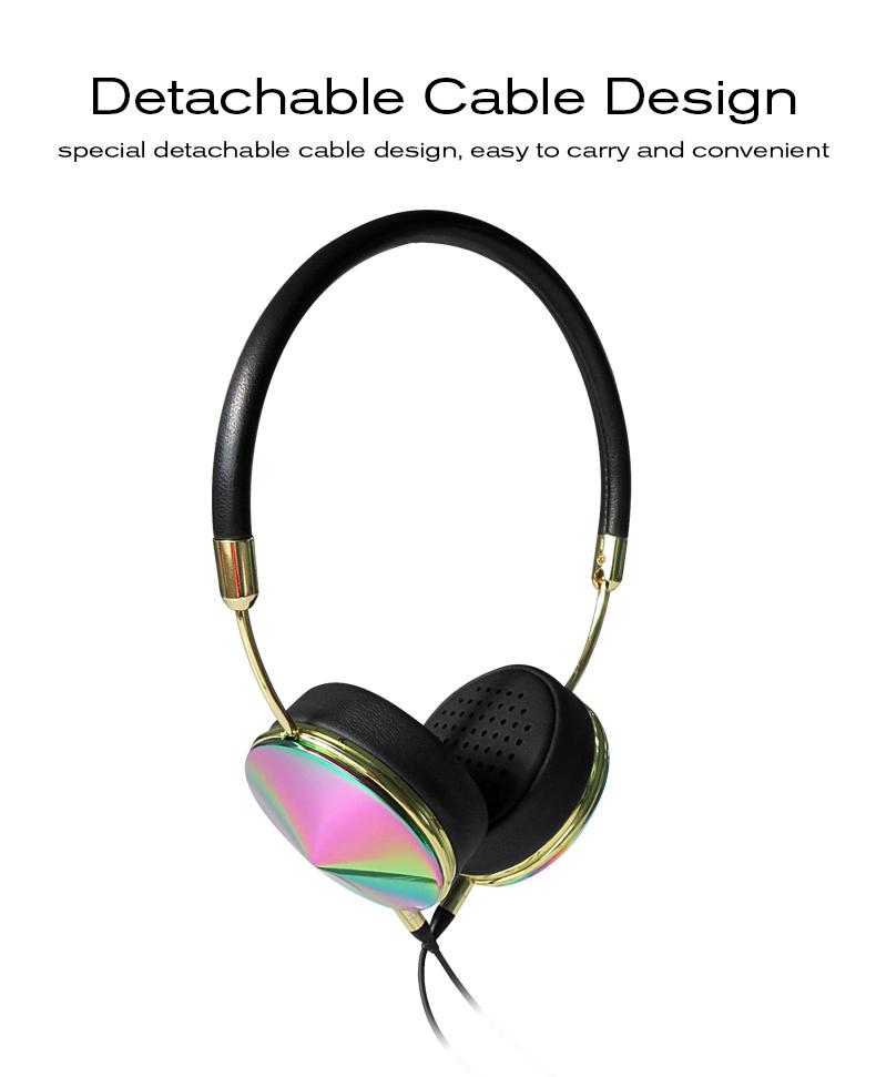 Liboer Beautiful Headphones Dynamic Headband Rose Gold Headphones with Mic Wired Headset for Mobile Phone On-ear Headphone 09