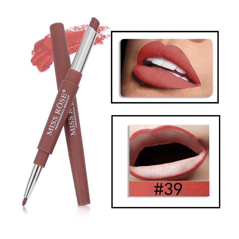 39 8 Color Double-end Lip Makeup Lipstick Pencil Waterproof Long Lasting Tint Sexy Red Lip Stick Beauty Matte Liner Pen Lipstick