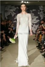 Famous Brand New Arrival Long Sleeves Floor Long See Through Sleeves White/Ivory Wedding Dress HY0036