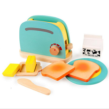 Cute Kids Baby Breakfast Pretend Role Play Wooden Kitchen Toaster Toys Child Development Toy with Milk /Bread/ Butter Gifts(China)
