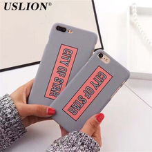 USLION Cute Cartoon Letter Phone Case For iPhone 6 6s Plus 7 7 Plus CITY OF STAR Ultra Thin Hard PC Phone Case Back Cover Bags