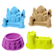 6Pcs/Set Portable Castle Sand Clay Novelty Beach Toys Model Clay For Moving Magic Sand