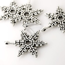 Buy 50Pcs Antique Silver Tibetan Silver Tone 24x18x2mm Snow Flake Charms Zinc Alloy Jewellry Making Findings TS0017 for $2.80 in AliExpress store