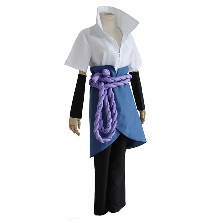 Anime Naruto Clothes Uchiha Sasuke Role Cosplay Costume Adult 5 PCS Top+Pants+Apron+Belt+Sleevelet Halloween Party Clothing 18(China)
