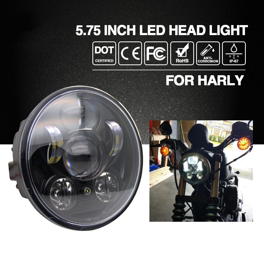 "CO LIGHT Headlight H4 5.75"" 40W Cree Chip High Low Beam 20W Led Headlamp Motorcycle Headlights For Harley Motor Bike 9V 12V(China (Mainland))"
