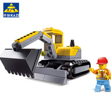KAZI 131Pcs Blocks City Construction Digging Engineering Vehicles Trans Toys Robot Model action figure building bricks(China)