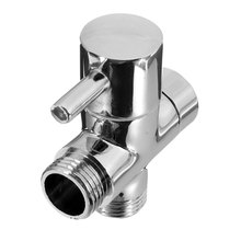 "1/2"" Brass Bathroom Shower Faucet Tee Connector Chrome Plated 3 Way Diverter Toilet Bidet Shattaf Valve(China)"