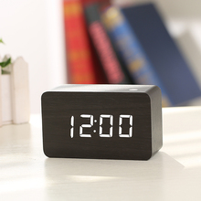 Mini Cube Wooden Clock Voice Control Electronic table clock bedside digital led alarm clock desk Nixie watch for Children