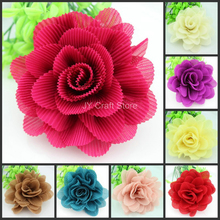 10pcs/lot Large mix colors rolled rosette puff flower, 4inch satin flower,fold flower,pink,beige,coffee,blue,red