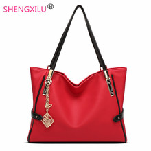 Shengxilu tassel ladies handbags brand leather women shoulder bag big burgundy female crossbody bags fashion girls messenger bag(China)