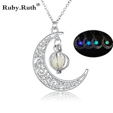 Fashion Women's stone shine moon Charm Luminous Stone necklaces Pendants fashion wholesale jewelry Statement Necklace(China)
