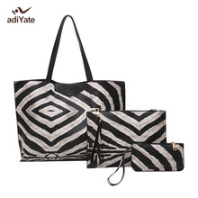 ADIYATE The Zebra Stripes Big Fashion Womens Bags Tote Bag Brief Picture Package Large Tote Handbag Italian leather Shoulder Bag