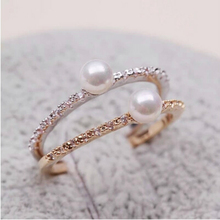 Korean Cubic Zirconia Delicate Ring Fashion Design Shining Lovely Gold Silver Color Rings Jewelry Imitation Pearls Ring Perfect(China)