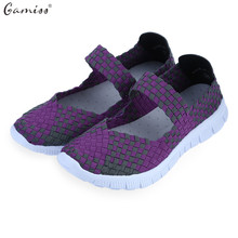 Gamiss summer breathable Patchwork women flats Shoes ultra light loafer shoes Cheap Walking boat shoes weave shoes for women