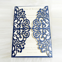 Navy Blue Shining Wedding Invitations 24 Customized Color Laser Cut Invitation Cards for Birthday Business Party Suppliers 50pc(China)