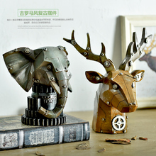 Nordic industrial mechanical style LOFT deer head bar club cafe restaurant window decoration furnishing articles props
