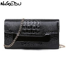 NIGEDU Brand Crocodile clutch purse Luxury Party evening bags Patent Leather Shoulder Bag for women Chain Messenger Bag Clutches(China)