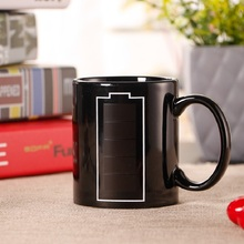 Promotion battery Heat Reveal Mug Color Change Coffee Cup Sensitive Morphing Mugs Temperature Sensing birthday gift(China)
