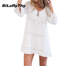 Spring Autumn Women White Mini Casual Dress Sexy O Neck Three Quarter Sleeve Lace Spicing Loose Beach Dresses