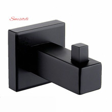 Smesiteli Simple Style All Brass Matte Black Finish 1pcs Wall Mount Square Towel Robe Coat Hook Hat Door Hanger Bath Accessories(China)