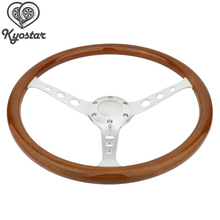 Wooden 380mm 15'' Car Decoration Accessories Wheels For Cars Wood Steering Wheel For Classic Cars 3 hole With Chrome Spoke(China)