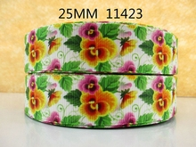 (5yds per roll) 10Y11423 kerryribbon freeshipping 1'' printed Grosgrain ribbon Clothing accessories Bow Material Gift Wrapping(China)
