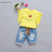 Hot Sale 2017 New Summer Baby Girls Clothing Sets T shirt Print Rose Butterfly Tops+Jeans Skirt Children Kids Fahsion Clothes