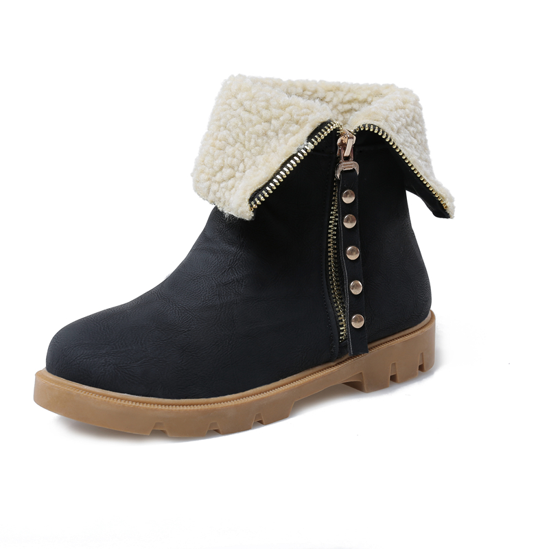 New Concise Women Ankle Snow Boots Round Toe Winter Boots Fashion Black Brown Beige Grey Shoes Woman US Size 4-10.5<br>