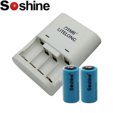2 pieces Soshine 500mAh RCR123 battery Rechargeable LiFePO4 16340 Battery with Soshine RCR123 CR2 16340 battery Rapid Charger