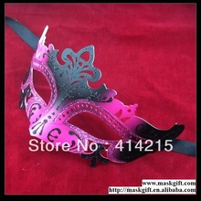Small Wholesale Free Shipping 2016 Hot Pink And Black Sexy Venetian Plastic Masquerade Masks