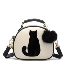 Women's Bags 2017 Spring Summer Cute Cartoon Printing Cat Bag Shoulder Messenger Bag Leather White/Black Women's Shoulder Bag(China)