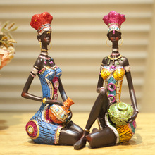 Home decoration unique decoration furnishings desktop decoration crafts smallsweet resin folk art African girl people home decor(China)