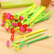 5pc / New Creative Office Stationery Lovely Simulation Plant Flowers Soft Silicone Gel Pen 0.5 Mm