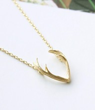 Jisensp 2017 New Fashion Deer Horn Antler Necklace Jewelry Simple Elegant Horn Necklace Antler Tiny Cute Pendant Necklace N056(China)