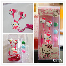 Free Shipping DHL 100 pcs Wholesale price Cartoon hello Kitty 3.5mm jack headset for iphone 5 6 pad MP3 universal Earphone