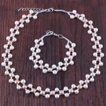 Mimeng 2016 NEW  Real Freshwater Pearl  Double Row Purple Colour Jewelry Sets Necklace + Bracelet Free Shipping