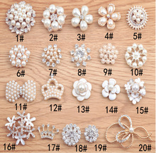 HOT SALE Handmade Metal Rhinestone Pearl Button Clear Artificial Alloy Crystal Flatback Wedding Buttons