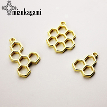 Buy 10pcs/lot Golden Alloy Honeycombs Metal Frame Pendant Gold Charm Bezel Setting Cabochon Setting UV Resin Charm Accessories for $3.01 in AliExpress store