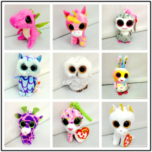 1pcs 10cm Pendant Ty Beanie Boos Plush Christmas Toy Doll Owl Rabbit Unicorn Dinosaur Sika Deer Kids Toys