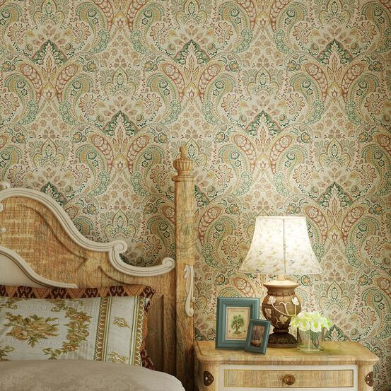 Vintage Colored Damask Mural Wallcovering Decor Wall Paper<br>