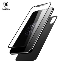 Baseus Front Back Premium Tempered Glass Film For iPhone X 3D Full Cover Rear Toughened Screen Protector Film For iPhone X 10(China)