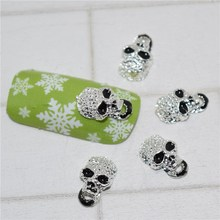 10psc New Black Skull 3D Nail Art Decorations,Alloy Nail Charms,Nails Rhinestones Nail Supplies #198(China)