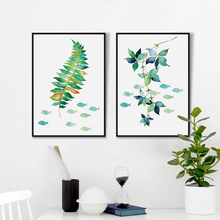 Plant Foliage Grass and Fish Abstract Simple Decoration Art Print Poster Wall Picture Canvas Painting Wall Decor
