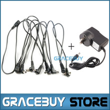1pcs 9V DC 1A Power Source, 1pcs 8 Way Daisy Chain Cord Power Lead For Sale, Guitar Effects Power Supply Adaptor And Cable