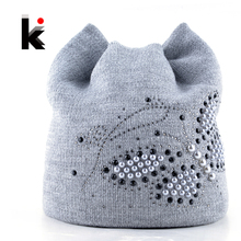 Winter Cat Beanie Hat Ladies Knit Hats For Women Beanies Caps Pearls Butterfly Diamond Beanie Touca Knitted Cap With Ear Flaps(China)