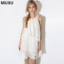 Buy MUXU summer lace dress sexy white dress vestido branco clothes women clothing loose sukienka robe dentelle elegant ruffle dress for $50.47 in AliExpress store