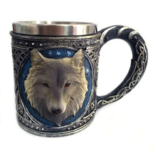 New Double Wall Stainless Steel 3D Wolf Head Mugs Coffee Beer Cup Mug Animal Wolf King Drinking Cup(China)